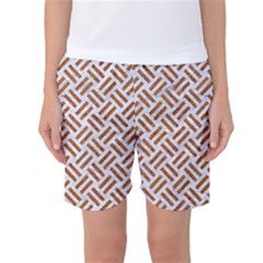 WOVEN2 WHITE MARBLE & RUSTED METAL (R) Women s Basketball Shorts