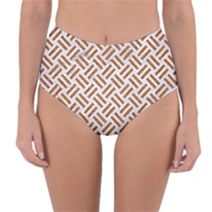 WOVEN2 WHITE MARBLE & RUSTED METAL (R) Reversible High-Waist Bikini Bottoms
