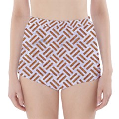 WOVEN2 WHITE MARBLE & RUSTED METAL (R) High-Waisted Bikini Bottoms
