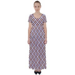 WOVEN2 WHITE MARBLE & RUSTED METAL (R) High Waist Short Sleeve Maxi Dress