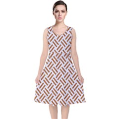 WOVEN2 WHITE MARBLE & RUSTED METAL (R) V-Neck Midi Sleeveless Dress