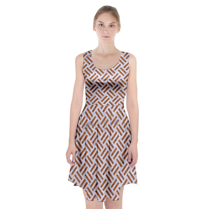 WOVEN2 WHITE MARBLE & RUSTED METAL (R) Racerback Midi Dress