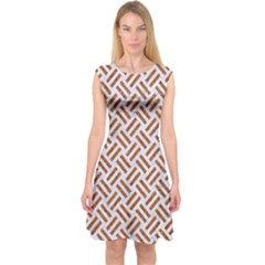 WOVEN2 WHITE MARBLE & RUSTED METAL (R) Capsleeve Midi Dress
