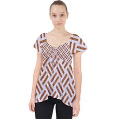 WOVEN2 WHITE MARBLE & RUSTED METAL (R) Lace Front Dolly Top