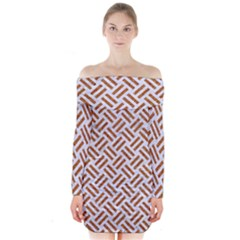 WOVEN2 WHITE MARBLE & RUSTED METAL (R) Long Sleeve Off Shoulder Dress