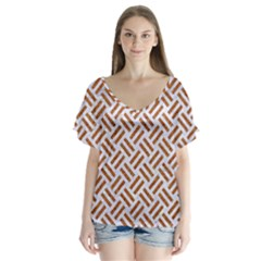 WOVEN2 WHITE MARBLE & RUSTED METAL (R) V-Neck Flutter Sleeve Top