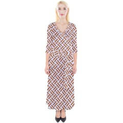 WOVEN2 WHITE MARBLE & RUSTED METAL (R) Quarter Sleeve Wrap Maxi Dress