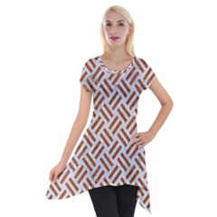 WOVEN2 WHITE MARBLE & RUSTED METAL (R) Short Sleeve Side Drop Tunic