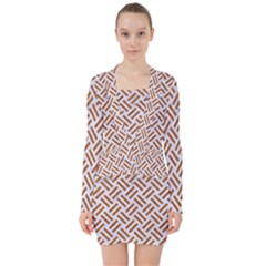 WOVEN2 WHITE MARBLE & RUSTED METAL (R) V-neck Bodycon Long Sleeve Dress