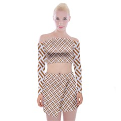Woven2 White Marble & Rusted Metal (r) Off Shoulder Top With Mini Skirt Set by trendistuff