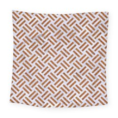 WOVEN2 WHITE MARBLE & RUSTED METAL (R) Square Tapestry (Large)