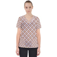 WOVEN2 WHITE MARBLE & RUSTED METAL (R) Scrub Top