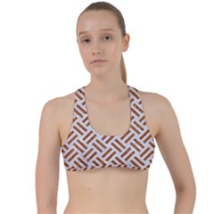 WOVEN2 WHITE MARBLE & RUSTED METAL (R) Criss Cross Racerback Sports Bra
