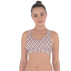 WOVEN2 WHITE MARBLE & RUSTED METAL (R) Cross String Back Sports Bra