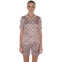 WOVEN2 WHITE MARBLE & RUSTED METAL (R) Satin Short Sleeve Pyjamas Set