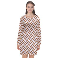 WOVEN2 WHITE MARBLE & RUSTED METAL (R) Long Sleeve Chiffon Shift Dress