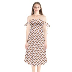 WOVEN2 WHITE MARBLE & RUSTED METAL (R) Shoulder Tie Bardot Midi Dress