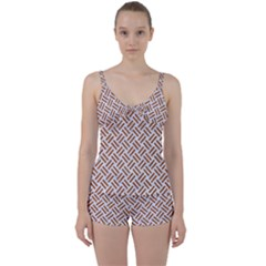 WOVEN2 WHITE MARBLE & RUSTED METAL (R) Tie Front Two Piece Tankini