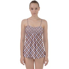 WOVEN2 WHITE MARBLE & RUSTED METAL (R) Babydoll Tankini Set