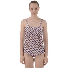 WOVEN2 WHITE MARBLE & RUSTED METAL (R) Twist Front Tankini Set