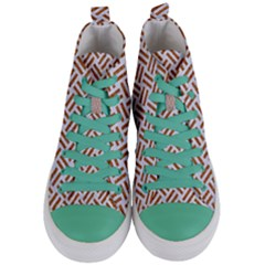 Woven2 White Marble & Rusted Metal (r) Women s Mid Top Canvas Sneakers