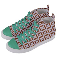 WOVEN2 WHITE MARBLE & RUSTED METAL (R) Women s Mid-Top Canvas Sneakers