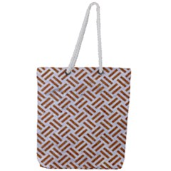 Woven2 White Marble & Rusted Metal (r) Full Print Rope Handle Tote (large) by trendistuff