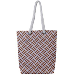 Woven2 White Marble & Rusted Metal (r) Full Print Rope Handle Tote (small) by trendistuff