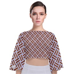 WOVEN2 WHITE MARBLE & RUSTED METAL (R) Tie Back Butterfly Sleeve Chiffon Top