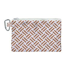Woven2 White Marble & Rusted Metal (r) Canvas Cosmetic Bag (medium) by trendistuff