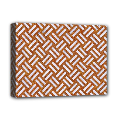 Woven2 White Marble & Rusted Metal Deluxe Canvas 16  X 12