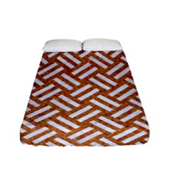 Woven2 White Marble & Rusted Metal Fitted Sheet (full/ Double Size) by trendistuff