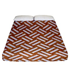 Woven2 White Marble & Rusted Metal Fitted Sheet (king Size) by trendistuff
