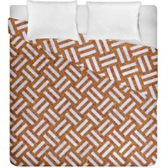 Woven2 White Marble & Rusted Metal Duvet Cover Double Side (king Size) by trendistuff