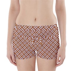 Woven2 White Marble & Rusted Metal Boyleg Bikini Wrap Bottoms by trendistuff