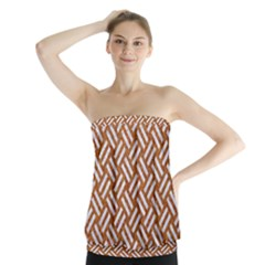 Woven2 White Marble & Rusted Metal Strapless Top by trendistuff