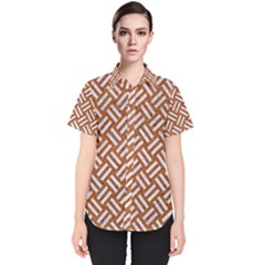 Woven2 White Marble & Rusted Metal Women s Short Sleeve Shirt by trendistuff