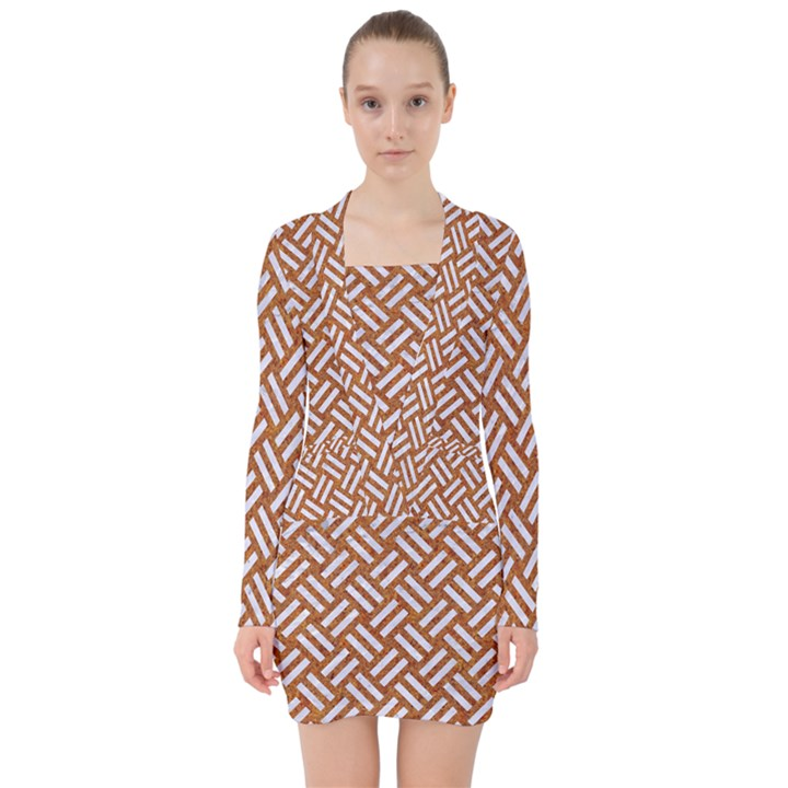WOVEN2 WHITE MARBLE & RUSTED METAL V-neck Bodycon Long Sleeve Dress