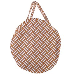Woven2 White Marble & Rusted Metal Giant Round Zipper Tote by trendistuff