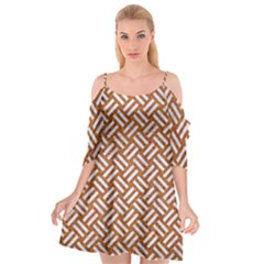 Woven2 White Marble & Rusted Metal Cutout Spaghetti Strap Chiffon Dress