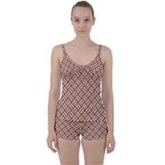 Woven2 White Marble & Rusted Metal Tie Front Two Piece Tankini by trendistuff