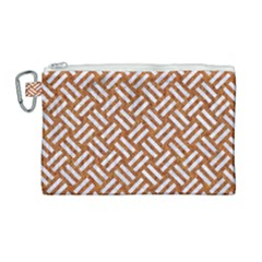 Woven2 White Marble & Rusted Metal Canvas Cosmetic Bag (large) by trendistuff