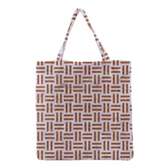 Woven1 White Marble & Rusted Metal (r) Grocery Tote Bag by trendistuff