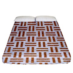 Woven1 White Marble & Rusted Metal (r) Fitted Sheet (king Size) by trendistuff