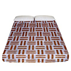 Woven1 White Marble & Rusted Metal (r) Fitted Sheet (california King Size) by trendistuff