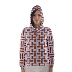 Woven1 White Marble & Rusted Metal (r) Hooded Wind Breaker (women)