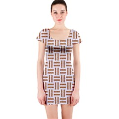 Woven1 White Marble & Rusted Metal (r) Short Sleeve Bodycon Dress by trendistuff
