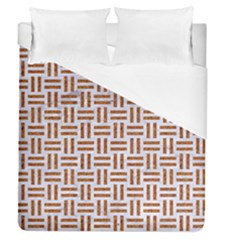 Woven1 White Marble & Rusted Metal (r) Duvet Cover (queen Size) by trendistuff