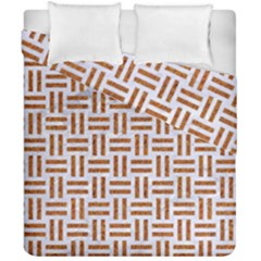 Woven1 White Marble & Rusted Metal (r) Duvet Cover Double Side (california King Size) by trendistuff