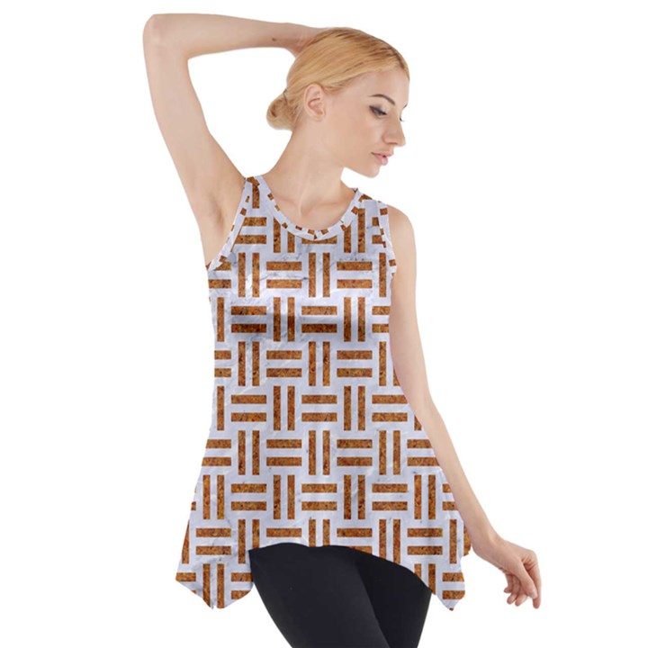 WOVEN1 WHITE MARBLE & RUSTED METAL (R) Side Drop Tank Tunic